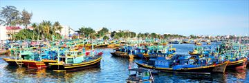 Colourful fishing boats in Phan Thiet