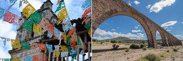 Colourful flags of Mexico City & Teotihuacan Padre Tembleque Aquaduct