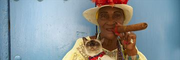 Cuban lady smoking a bigar in Cuba