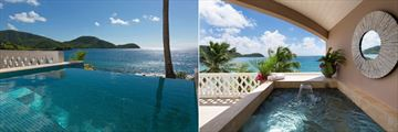 Cliff Suite Pool and Outdoor Jacuzzi with Sea Views at Curtain Bluff