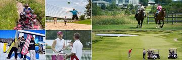 Deerhurst Resort, (clockwise from top left): ATV Guides Tours, Beach Volleyball, Horse Riding, Golf, Tennis and Snowboarding