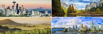 Clockwise from top left: Seattle, Yosemite National Park, Vancouver and Napa Valley