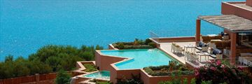 Pool and sea views at Domes of Elounda