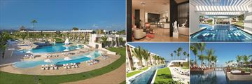 Dreams Onyx Punta Cana, (clockwise from left): Main Pools, Preferred Club Lounge Lobby, Preferred Club Adults Only Pool Swim-Up Bar, Preferred Club Adults Only Pool and Preferred Club Family Pool