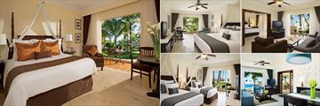Dreams Palm Beach Punta Cana, (clockwise from left): Preferred Club Deluxe Tropical View, Deluxe Tropical View, Preferred Club Ocean View, Suite Living Room and Preferred Club Ocean View