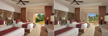 Deluxe Tropical View and Deluxe Pool View rooms at Dreams Royal Beach Punta Cana