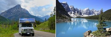 Driving through Alberta & Rocky Mountain vistas from Moraine Lake in Banff