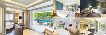 Dusit Thani Krabi Beach Resort, (clockwise from left): Club Suite with Plunge Pool, Deluxe Room, Club Deluxe Room, Club Premium Suite and Club Sea Facing Suite