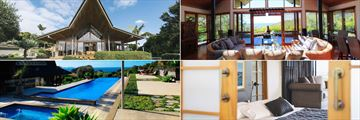 Eagles Nest Villas, (clockwise from top left): Sacred Space Villa Exterior, Living Room, Bedroom and Pool