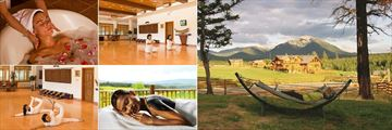 Echo Valley Ranch & Spa, (clockwise from top left): Hydrotherapy, Morning Yoga, Outdoor Relaxation, Body Therapy and Thai Yoga Stretches