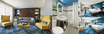 Embassy Row Hotel, (clockwise from left): Suite, Bathroom, Deluxe City View and Double Deluxe Room
