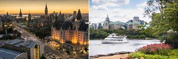 Ottawa at night (left), and Ottawa River Cruise (right)