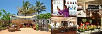 Essque Zalu Zanzibar, (clockwise from left): Swahili Cooking, Bar, Market Kitchen, Chef's Table and Market Kitchen Buffet