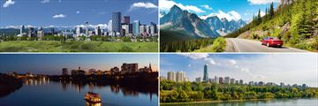 Clockwise from top left: Calgary, driving through Banff National Park, Edmonton, and Saskatchewan River Cruise