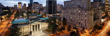Fairmont Hotel Vancouver, Aerial View of Hotel at Dusk