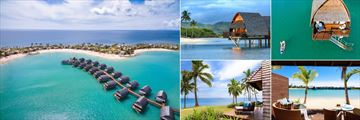 Fiji Marriott Resort Momi Bay, (clockwise from left): Aerial of the Lagoon Villas, Over Water Lagoon Villa, Over Water Royal Suite, Duplex Lagoon Front Villa and Royal Ocean Front Villa