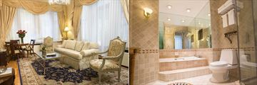 Liam Neeson Penthouse Suite Lounge and Bathroom at Fitzpatrick Grand Central