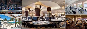 Fontainebleau Miami Beach, (clockwise from top left): Hakkasan Restaurant, Scarpetta Restaurant, Scarpetta, Stripsteak Restaurant and La Cote Restaurant Upper Deck
