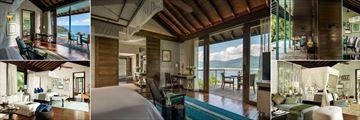 Four Seasons Resort Seychelles, (clockwise from top left): Hilltop Ocean View Villa, Four Bedroom Residence Villa, Garden View Villa, Three Bedroom Beach Suite and Two Bedroom Presidential Suite