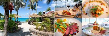 Galley Bay Resort & Spa, (clockwise from left): Barefoot Grill, Cuisine at Gaugin, Seagrape and Ismay