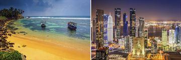 Sri Lankan golden beach & Qatar Skyline at night