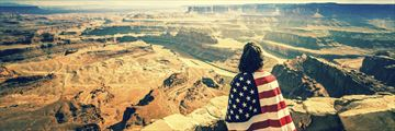 Girl wearing American flag at Grand Canyon