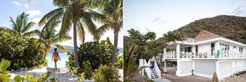 The beach and cottage exterior at Guana Island