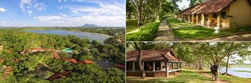 Habarana Village by Cinnamon, Aerial View, Lodges and Elephants Beside The Lake