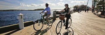 Cycling along Halifax boardwalk
