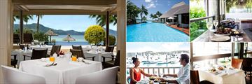 Hamilton Island Beach Club, (clockwise from left): Beach Club Restaurant, Sails Restaurant, Coco Chu Restaurant, Mariners Restaurant and Manta Ray Restaurant