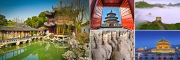Highlights of China; Yu Yuan Gardens, Temple of Heaven, Great Wall fo China, Xian Bell Tower, Terracotta Warriors
