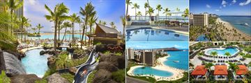 Hilton Hawaiian Village Waikiki Beach Resort, (clockwise from left): Pool with Slides, Alli Pool, Alli Tower Exterior, Tapa Pool and Lagoon Aerial Shot