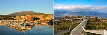 Hobart's Sullivans Harbour (left), and Mt Wellington (right)