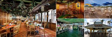 Holiday Inn & Suites Harbourside, (clockwise top left): Jimmy Guana's Restaurant, Hemingway Room, Jimmy Guana's Outdoor Dining, Cruzan Rum Shack and Jimmy Guana's Outdoor Bar