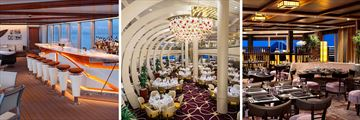 Holland America MS Koningsdam; Sea View Bar, The Dining Room, Tamarind Restaurant