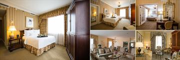 Monteleone, (clockwise from left): Double Guest Room, Preferred Double Room, Luxury Suite, Riverview Suite and Truman Capote Suite