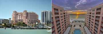 Hyatt Regency Clearwater Beach, Exterior from Clearwater Bay and Resort Pool & Beach at Sunset