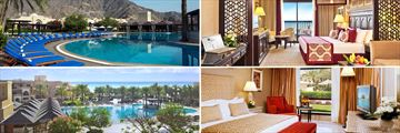 Iberotel Miramar Al Aqah; Main pool, Dana Suite, Al Qasr Suite, Pool looking onto the Beach overview (shown clockwise)