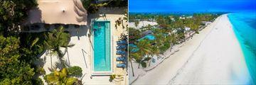Aerial View of the Pool and the Beach at Indigo Beach Zanzibar