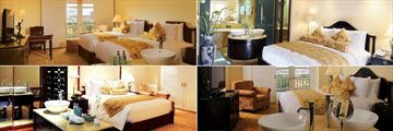 Indochine Palace, (clockwise from top left): Deluxe Room, One Bedroom Suite, Two Bedroom Suite and Studio
