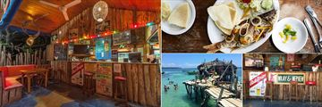 Jake's, (clockwise from left): Jack Sprat Bar, Jamaican Dinner, Jack Sprat Bar and Pelican Bar