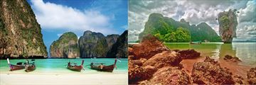 James Bond Island and white sand beach with longboats, Phuket
