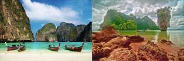 James Bond Island and white sand beach with longboats, Phuket