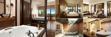 Jetwing Beach, Negombo, (clockwise from left): Deluxe Room and Bathroom, Suite Bedroom, Living Room, Bathroom and Deck