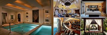 Jumeirah Dar Al Masyaf, Madinat Jumeirah, (clockwise from left): Talise Spa Plunge Pool, Ladies Majilis, Single Treatment Room, Secret Garden and Talise Spa Fitness Centre