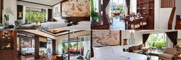 Clockwise from top left: Deluxe Bedroom, Duplex Suite, Family Pool Access Studio and Executive Suite at JW Marriott Khao Lak