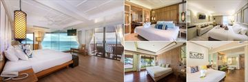 Katathani Phuket Beach Resort, (clockwise from left): Royal Thai Suite, Grand Suite, Deluxe Pool View, Grand Deluxe and Family Suite
