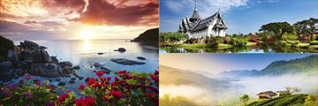 Scenery in Koh Samui, The Chiang Mai landscapes and Sanphet Prasat Palace in Bangkok