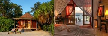 Beach Villa Exterior and Jacuzzi Beach Villa or Beach Villa Bedroom at Komandoo Island Resort & Spa