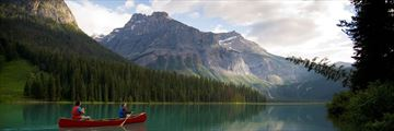 Canoeing along Emerald Lake, Kootenay Rockies